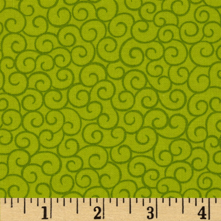 Moda Ho! Ho! Ho! Santa Swirls Elf Green Fabric By The Yard