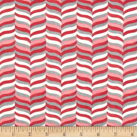 Moda Hugaboo Wavy Herringbone Twirly Pink Fabric