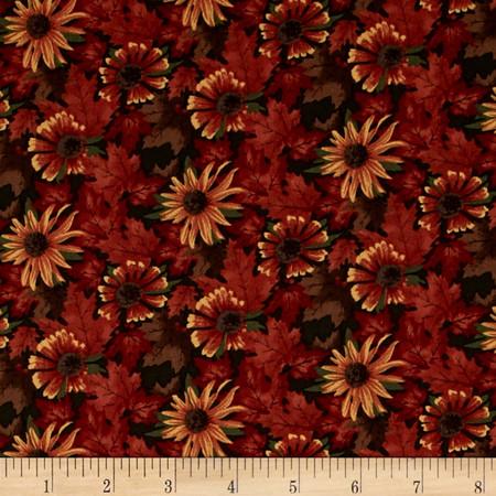 Moda Maple Island Maple & Flowers Pine Green Fabric