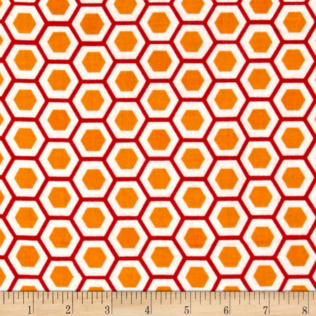 Moda Mixed Bag Flannel Hexy Orange Fabric By The Yard