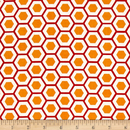 Moda Mixed Bag Hexy Orange Fabric By The Yard