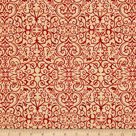 Moda Rejoice In The Season Scroll Berry Red-Parchment Fabric By The Yard