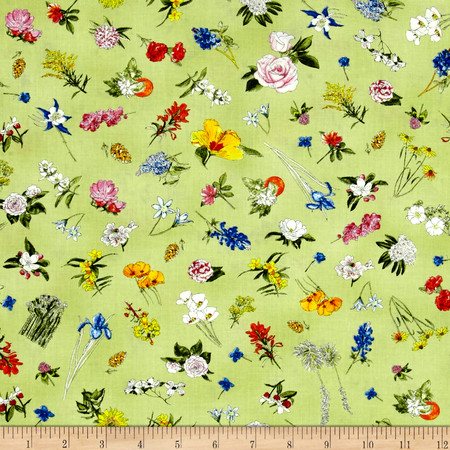 Moda State Flowerscape State Flower Toss Sprig Fabric By The Yard