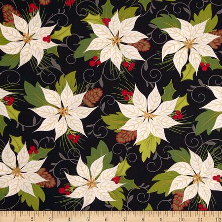 Moda Tole Christmas Poinsettia Midnight Fabric