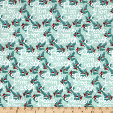 Moda Winterberry Peace on Earth Mint Fabric By The Yard