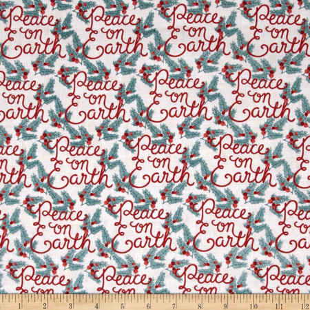 Moda Winterberry Peace on Earth Snow Fabric By The Yard