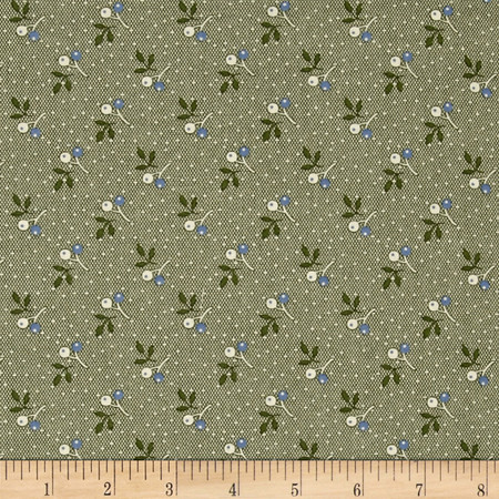 Molly B's Allover Cherries Green/Blue Fabric