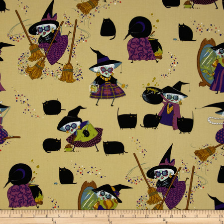 Mona Makes Magic Witches Purple Fabric