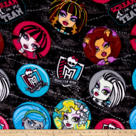 Monster High Fleece Punk rock Medallions Black Fabric By The Yard