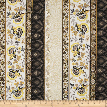 Moonlight Peacock Metallic Floral Border Granite/Gold Fabric