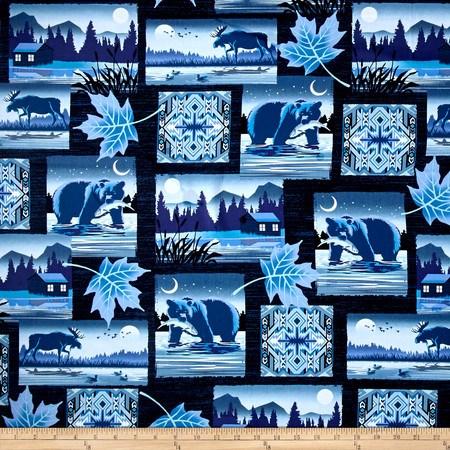 Moose Creek Lake Patch Navy Fabric By The Yard