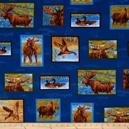 Mooselake Moose Tiles Blue/Green Fabric