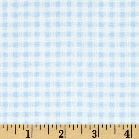 Telio Morocco Blues Stretch Cotton Shirting Gingham Print Baby/Blue/White Fabric By The Yard