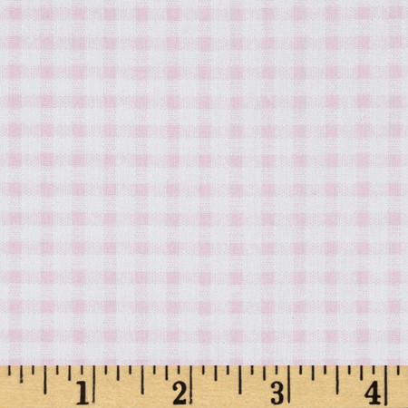 Telio Morocco Blues Stretch Cotton Shirting Gingham Print Baby/Pink/White Fabric By The Yard