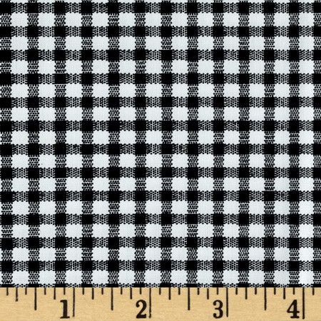 Telio Morocco Blues Stretch Cotton Shirting Gingham Print Black/White Fabric By The Yard