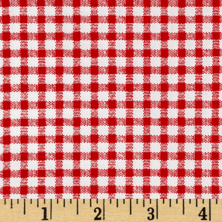 Telio Morocco Blues Stretch Cotton Shirting Gingham Print Red/White Fabric By The Yard