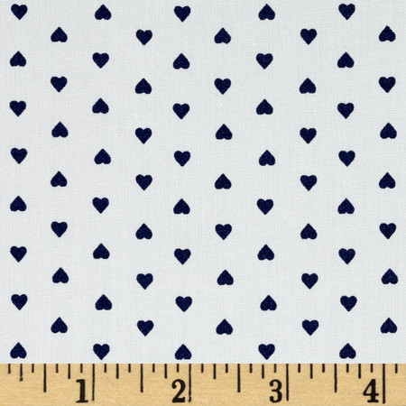 Telio Morocco Blues Stretch Cotton Shirting Heart Print White/Navy Fabric By The Yard