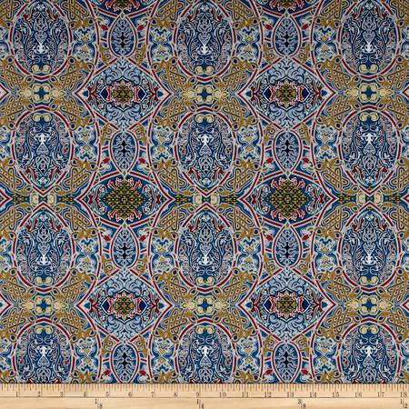 Telio Morocco Blues Stretch Cotton Shirting Mosaic Print Multi Fabric By The Yard