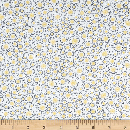Telio Morocco Blues Stretch Cotton Shirting Popcorn Floral Print Yellow Fabric By The Yard
