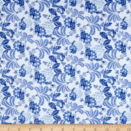 Telio Morocco Blues Stretch Cotton Shirting Waterford Print Blue Fabric By The Yard