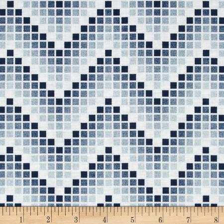 Mosaic Chevron Blue Fabric By The Yard