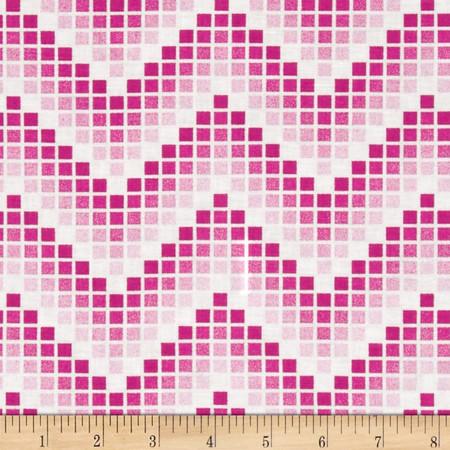 Mosaic Chevron Fuchsia Fabric By The Yard