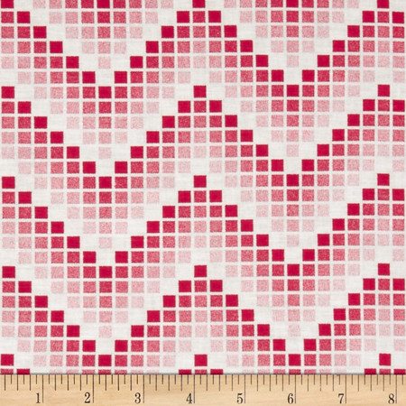 Mosaic Chevron Red Fabric By The Yard