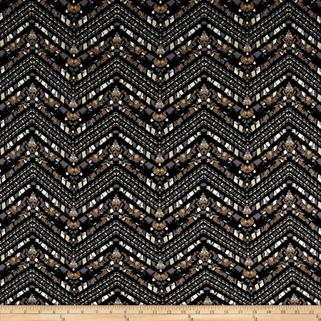 Mosaic Zig Zag Jersey Knit Print Black/Buff Fabric By The Yard
