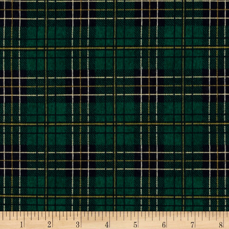 Mountain Lodge Flannel Classic Plaid Green/Navy/Gold Fabric