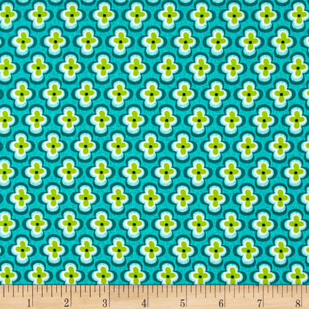 My Lil Lady Quatral Foil Floral Green Fabric By The Yard