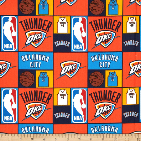 NBA Cotton Broadcloth Oklahoma City Thunder Multi Fabric By The Yard