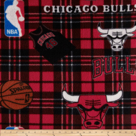 NBA Fleece Chicago Bulls Red Fabric By The Yard