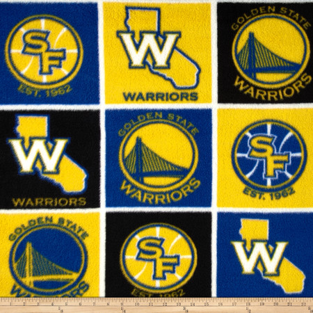 NBA Fleece San Francisco Golden State Warriors Block Blue/Yellow Fabric By The Yard
