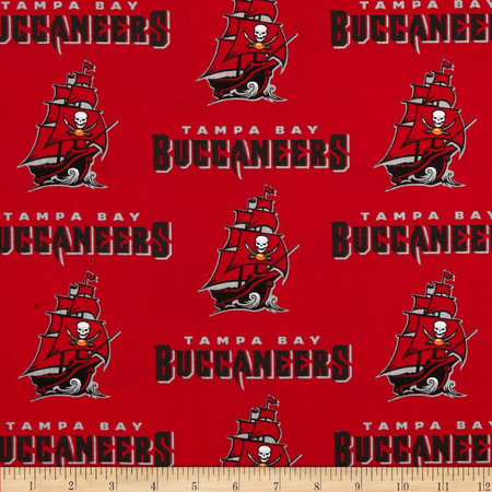 NFL Broadcloth Tampa Bay Buccaneers Red Fabric By The Yard