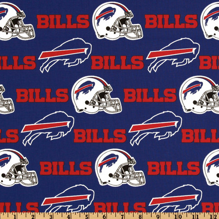NFL Cotton Broadcloth Buffalo Bills Red/Royal Fabric By The Yard