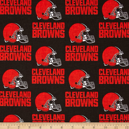 NFL Cotton Broadcloth Cleveland Browns Orange/Brown Fabric By The Yard