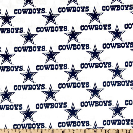 NFL Cotton Broadcloth Dallas Cowboys White Fabric By The Yard