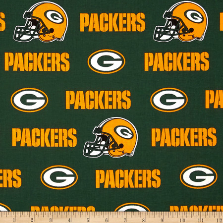 NFL Cotton Broadcloth Green Bay Packers White/Green/Yellow Fabric
