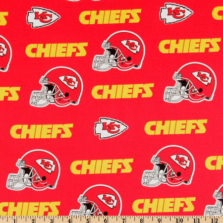 NFL Cotton Broadcloth Kansas City Chiefs Red/Yellow Fabric By The Yard