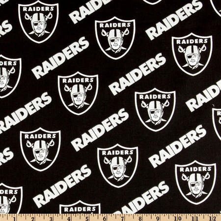 NFL Cotton Broadcloth Oakland Raiders Black/Silver Fabric By The Yard