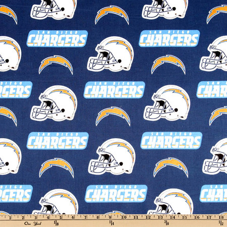 NFL Cotton Broadcloth San Diego Chargers Blue/White/Yellow Fabric By The Yard