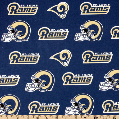 NFL Cotton Broadcloth St. Louis Rams Navy/Gold Fabric