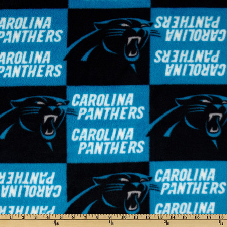 NFL Fleece Carolina Panthers Turquoise/Black Fabric By The Yard