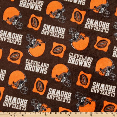 NFL Fleece Cleveland Browns Orange/Brown Fabric