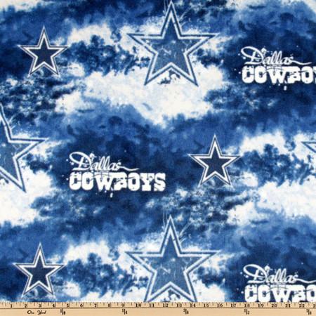 NFL Fleece Dallas Cowboys Blue/White Fabric By The Yard