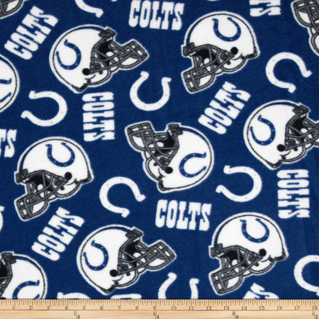 NFL Fleece Indianapolis Colts Blue/White Fabric By The Yard