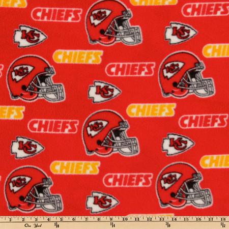 NFL Fleece Kansas City Chiefs Toss Red/Yellow Fabric By The Yard