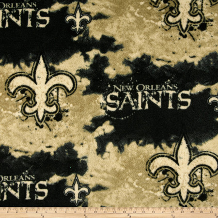 NFL Fleece New Orleans Saints Black Fabric By The Yard