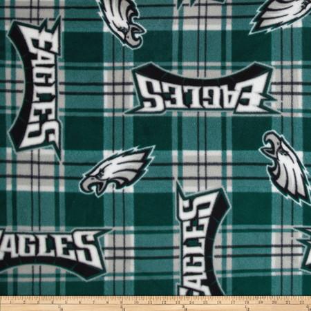 NFL Fleece Plaid Philadelphia Eagles Green Fabric By The Yard