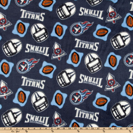 NFL Fleece Tennessee Titans Blue Fabric By The Yard